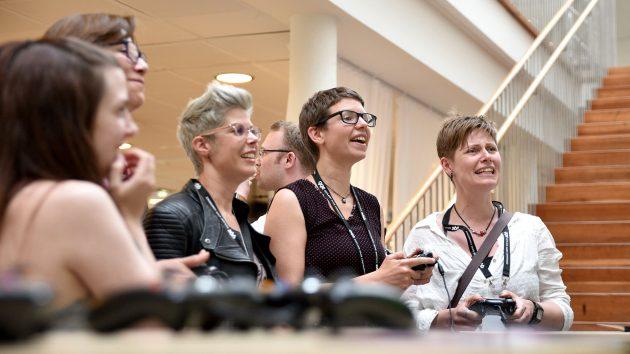 Prof. Doris Rusch, Dr. Sabine Harrer and addiction councelor Martine Pedersen - three jurors hard at work at the GGC 2017