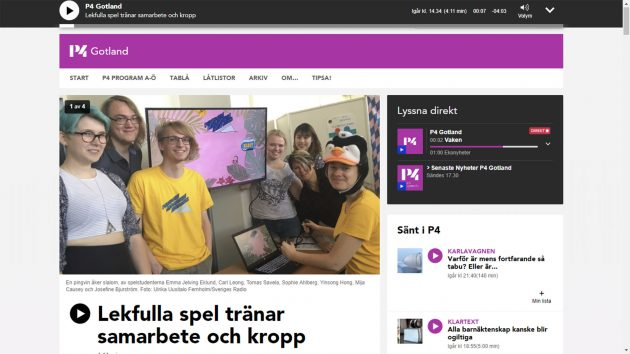 "Swedish Radio: ""Playful games to train both collaboration and body"""