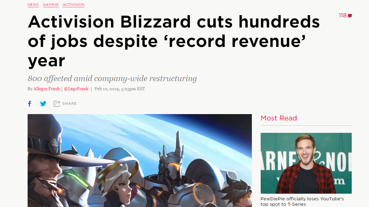 Activision Blizzard cuts hundreds of jobs despite 'record revenue' year