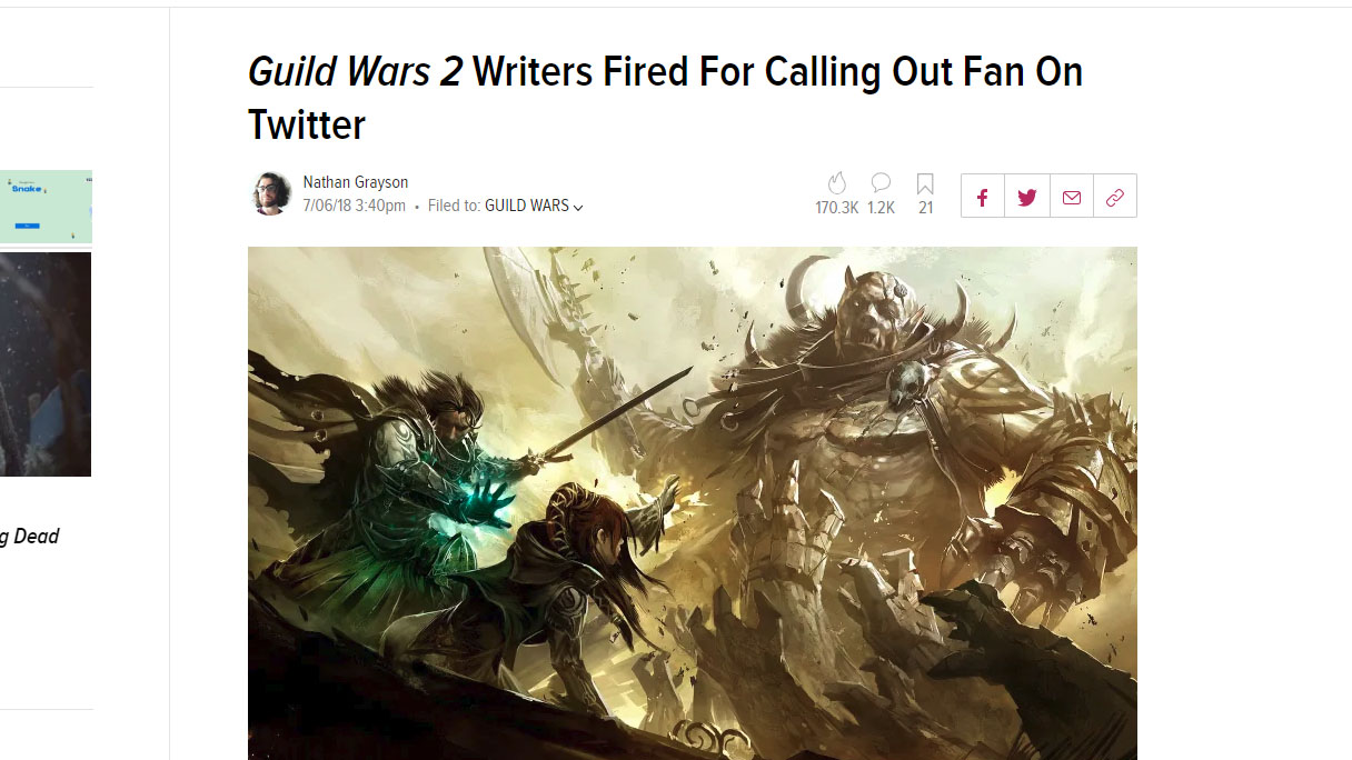 Guild Wars 2 Writers Fired For Calling Out Fan On Twitter